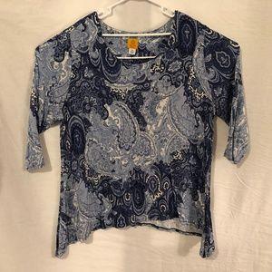 Ruby Rd Plus Size 3X Blouse Blue Paisley 1139